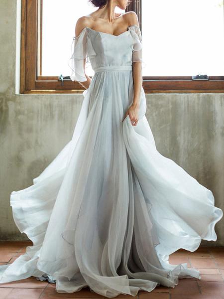 Milanoo Wedding Dress A Line Off The Shoulder Sleeveless Pleated Court Train Chiffon Boho Bridal Gowns