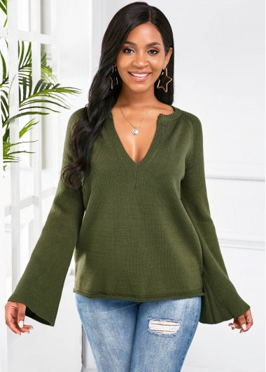 Christmas Rosewe Holiday Top Dark Green V Neck Long Sleeve Sweater - S
