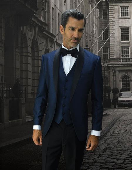 Men's Double Breasted Vest Indigo 1 Button Black Shawl Lapel Suit