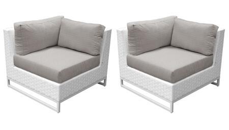 TKC047b-CS-DB-ASH Miami Corner Chair 2 Per Box - Sail White and Ash