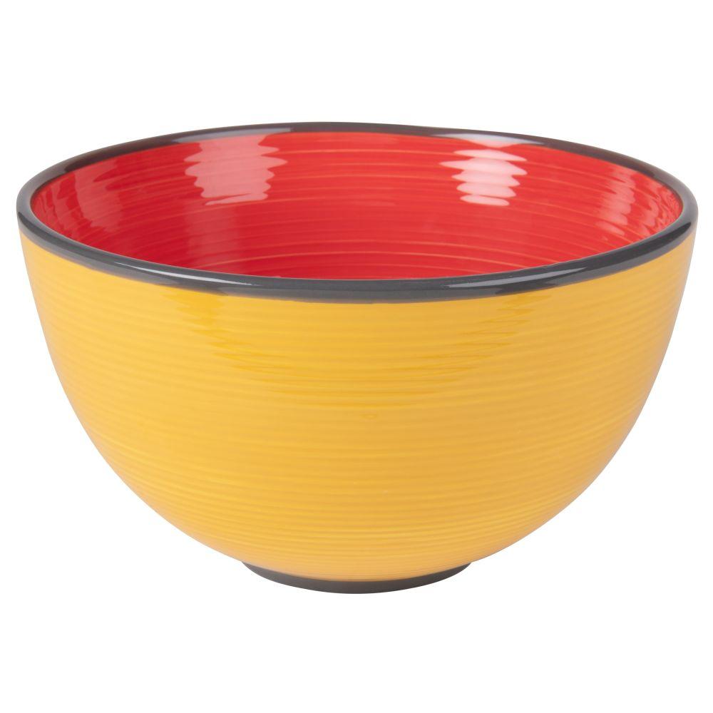 Salatschuessel aus Fayence, rot und gelb