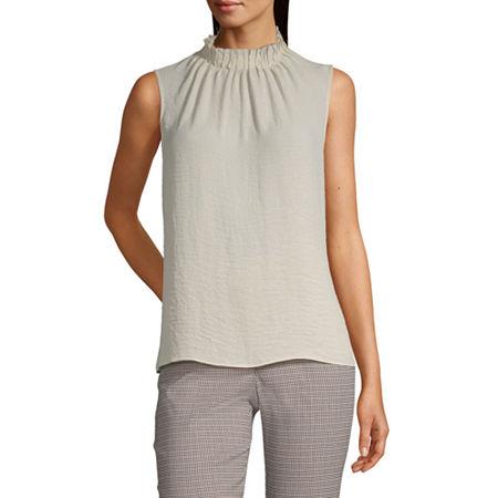 Worthington Womens Pintuck Shell Blouse - Tall, Xx-large Tall , White