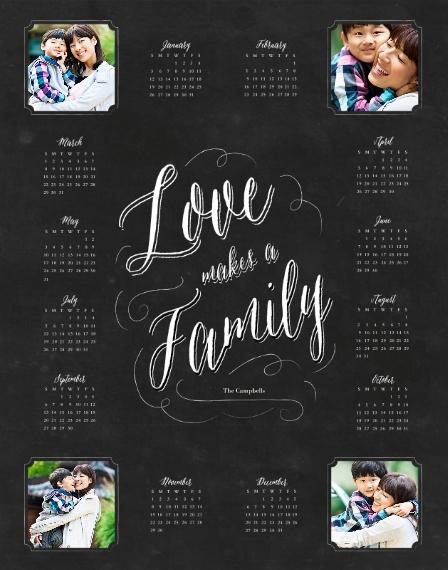 Calendar 11x14 Poster(s), Board, Home Décor -Family Chalkboard