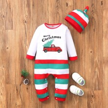 Baby Boy Christmas Print Jumpsuit With Hat