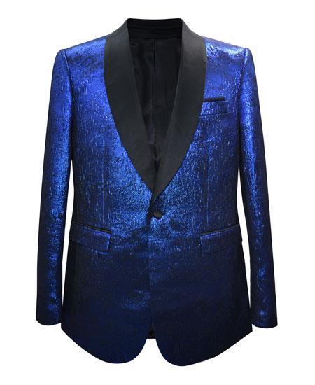 Cheap Mens Printed Flower Jacket Prom modern Tux Royal