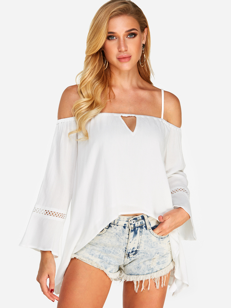 Yoins White ut Out Cold Shoulder Long Sleeves Blouses With High-Low Hem