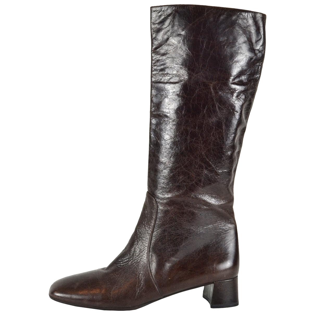 Prada \N Brown Leather Boots for Women 40.5 EU