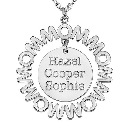 Personalized Mom and Children Circle 27mm Pendant Necklace, One Size , White