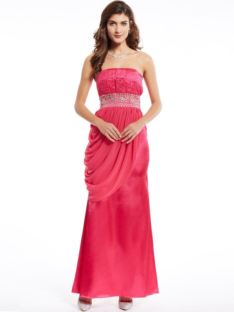 Ericdress Strapless Sheath Beading Lace Evening Dress