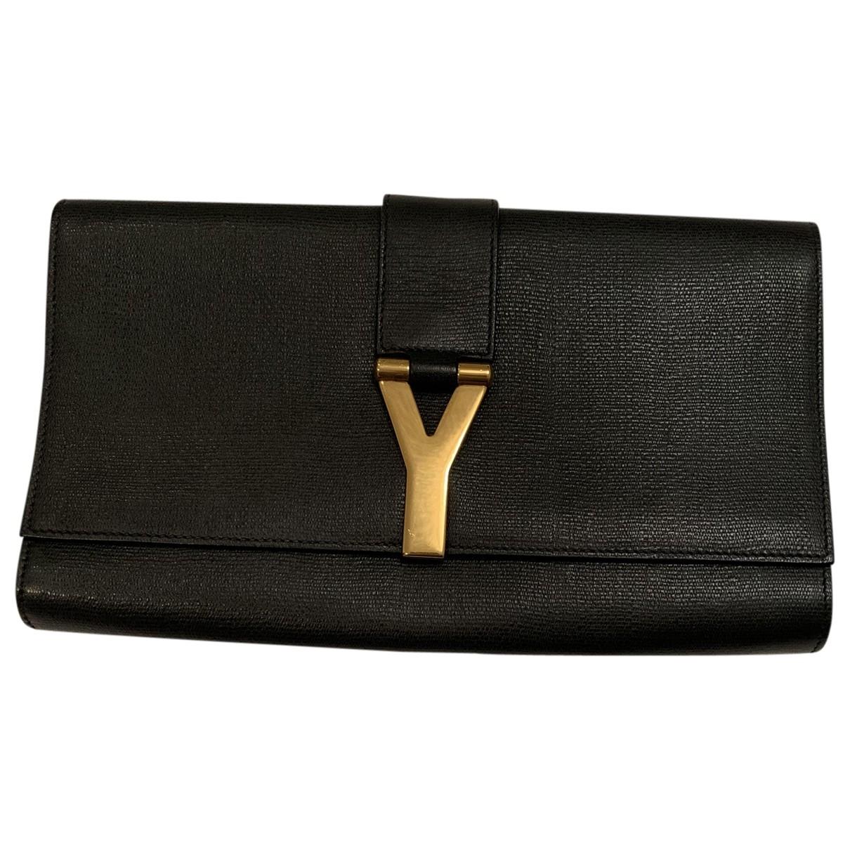 Yves Saint Laurent Chyc Clutch in  Schwarz Leder