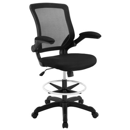 Veer Collection EEI-1423-BLK Drafting Chair with 90 Degree Flip-Up Arms  Pneumatic Height Adjustment  Casters  Seat Tilt Tension Control  Nylon Base
