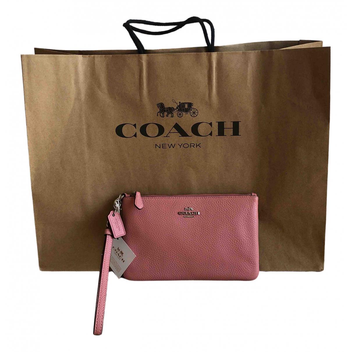 Coach - Pochette   pour femme en cuir - rose
