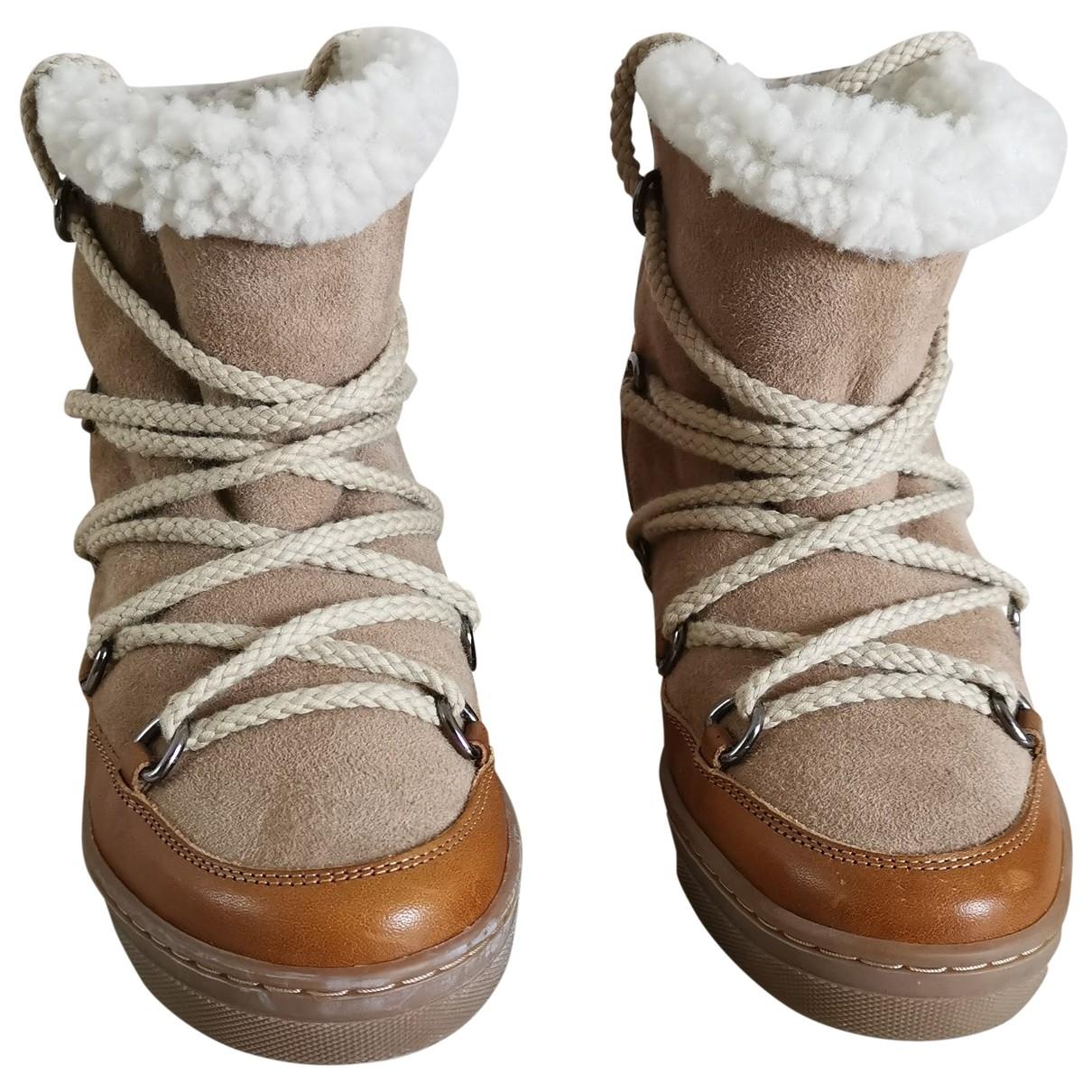 Isabel Marant - Boots Nowles pour femme en cuir - beige
