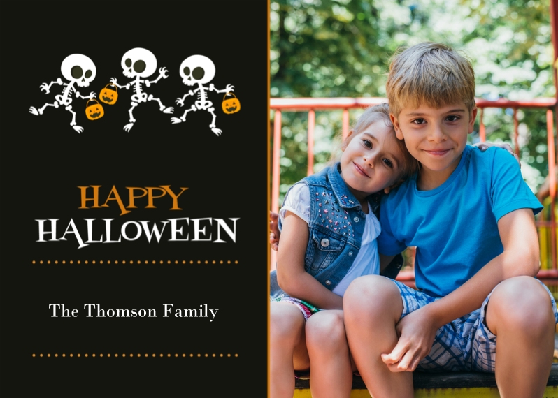 Halloween Photo Cards 5x7 Cards, Premium Cardstock 120lb with Scalloped Corners, Card & Stationery -Skeleton Parade