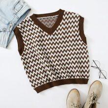 Pullover Weste mit Chevron Muster und Kontrast Bindung