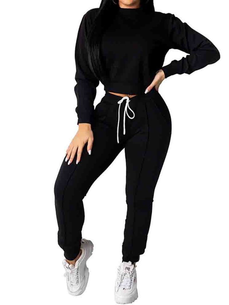 Ericdress Hoodie Sports Plain Round Neck Two Piece Sets