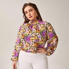 Bluse mit Blumen Muster, Stehkragen und Bishofaermeln