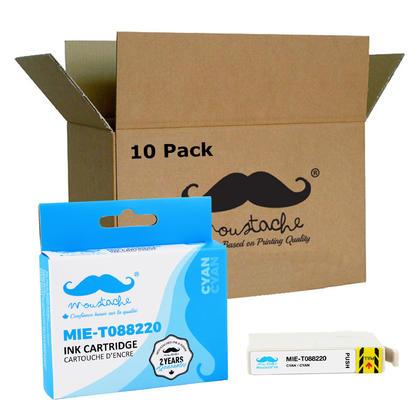 Compatible Epson 88 T088220 Cyan Ink Cartridge - Moustache@ - 10/Pack