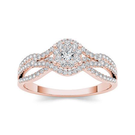 1/2 CT. T.W. Diamond 10K Rose Gold Engagement Ring, 7 1/2 , No Color Family
