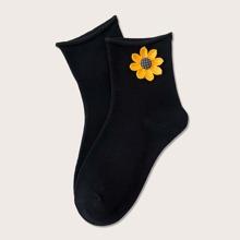 Socken mit Blumen Applikation