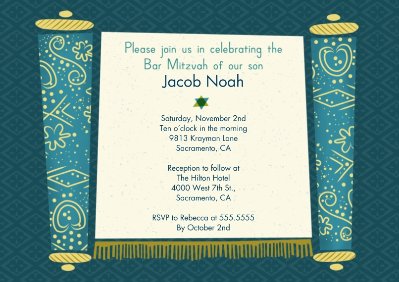 Bar & Bat Mitzvah 5x7 Cards, Premium Cardstock 120lb with Rounded Corners, Card & Stationery -Bar Mitzvah Boy