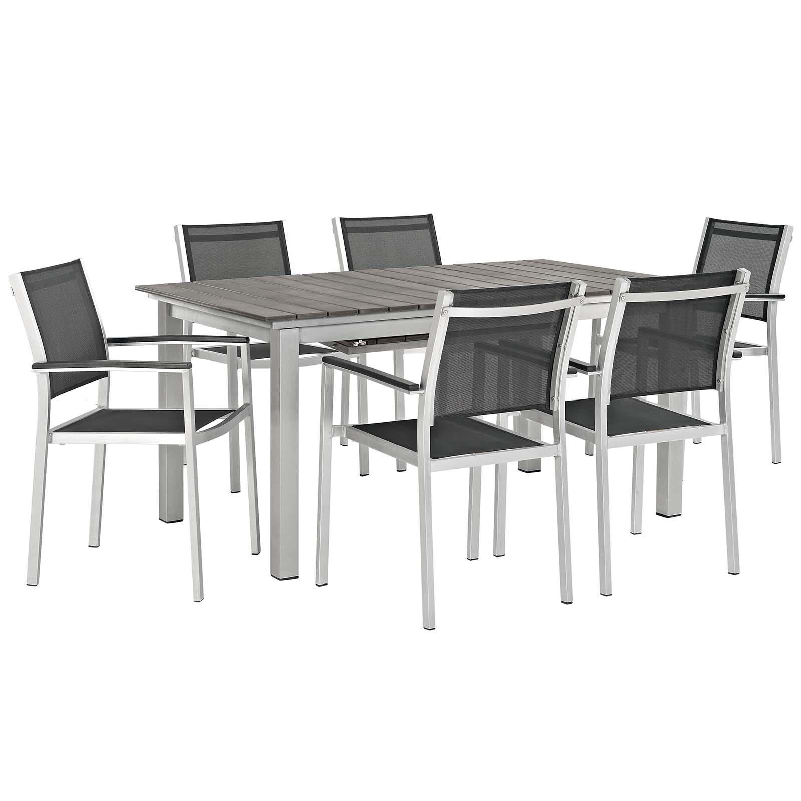 Shore 7 Piece Outdoor Patio Aluminum Outdoor Dining Set in Silver Black