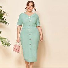 Plus Ruched Detail Button Front Split Hem Dress