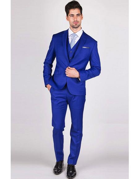 Mens Royal ~ Indigo ~ Cobalt New Blue Single Breasted Suit