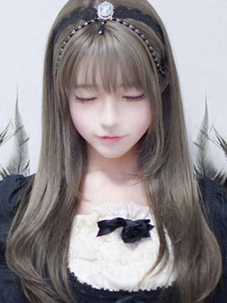 Milanoo Lolita Wigs Long Light Brown Heat Resistant Fiber Lolita Hair Wigs