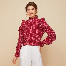 Mock-Neck Ruffle Trim Polka Dot Top