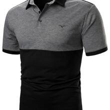 Polo Shirt mit Mowe Stickereien und Farbblock