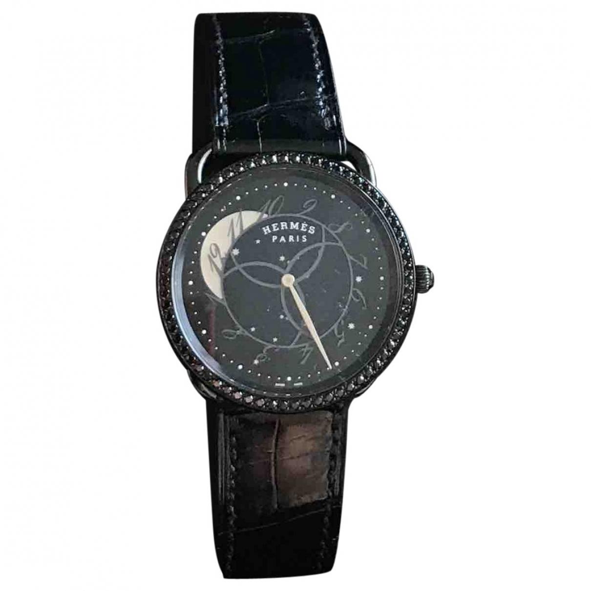 Hermes - Montre Arceau pour femme en acier - noir