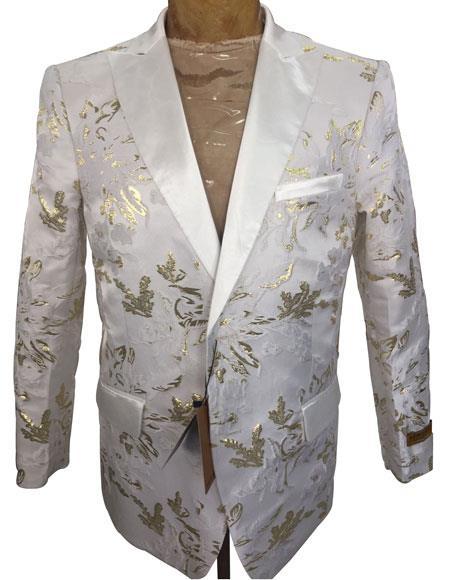 Mens White ~ Gold Floral Pattern Blazer