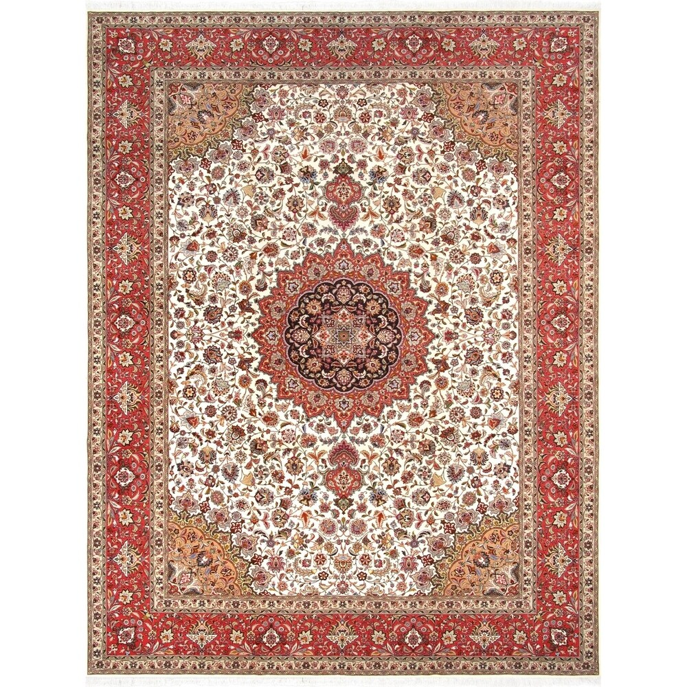 Pasargad Home Tabriz Ivory/Rust Hand-Knotted Silk & Wool Rug ( 9'11