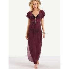 V-Ausschnitt Kleid und niedrige gerundet - weinrot
