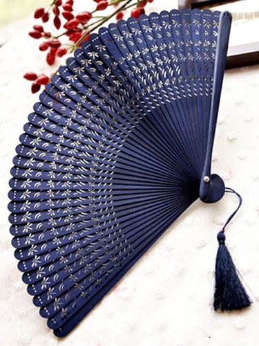 Milanoo Japanese Sensu Folding Fan Dark Navy Dragonfly Hollow Uchiwa Bijin Halloween
