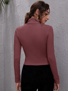 Turtle Neck Textured Knit Fitted Top