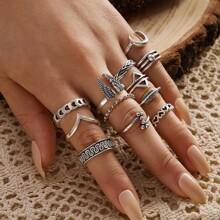 12pcs Wing & Heart Decor Ring