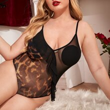 Plus Leopard Sheer Mesh Ruffle Teddy Bodysuit