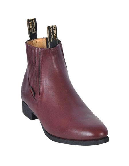 Los Altos Charro Botin Short Ankle Deer Burgundy Leather Boots For Men