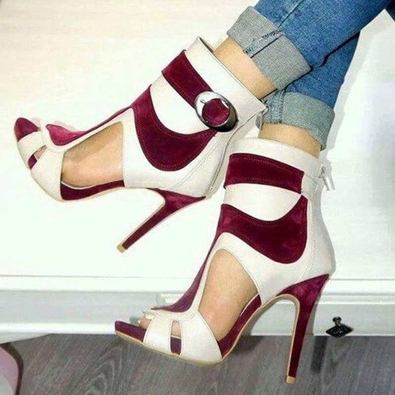 Ericdress Color Block Peep Toe Stiletto Sandals