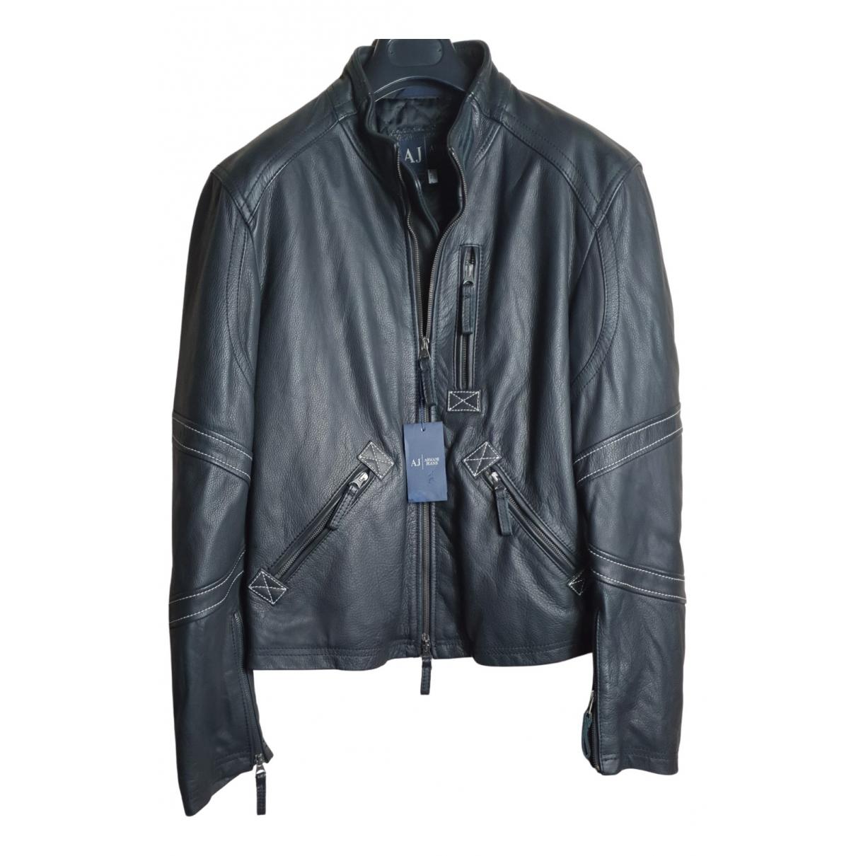 Armani Jeans N Black Leather jacket  for Men 50 IT