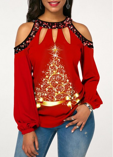 Christmas Rosewe Women Red Sequin Cold Shoulder Long Sleeve Tunic T Shirt Xmas Round Neck Casual Fall Top - L