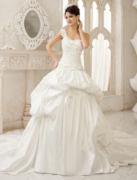 Milanoo Ivory Ball Gown One-Shoulder Pleated Chapel Train Bridal Wedding Gown