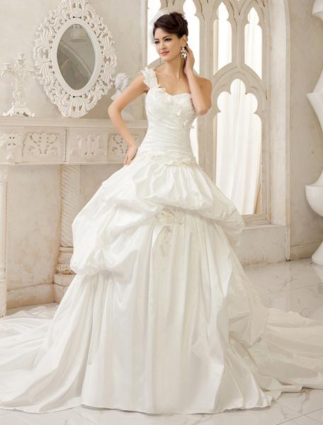 Milanoo Vestido de novia de tafetan de color marfil de cola capilla