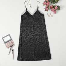 Satin Cami Nachtkleid mit Netzeinsatz und Leopard Muster
