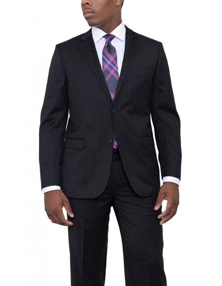 Mens Black 2 Buttons Pinstriped Classic Fit Wool Suit Flat Front Pants