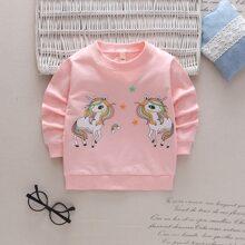 Pullover mit Einhorn Muster und rundem Kragen