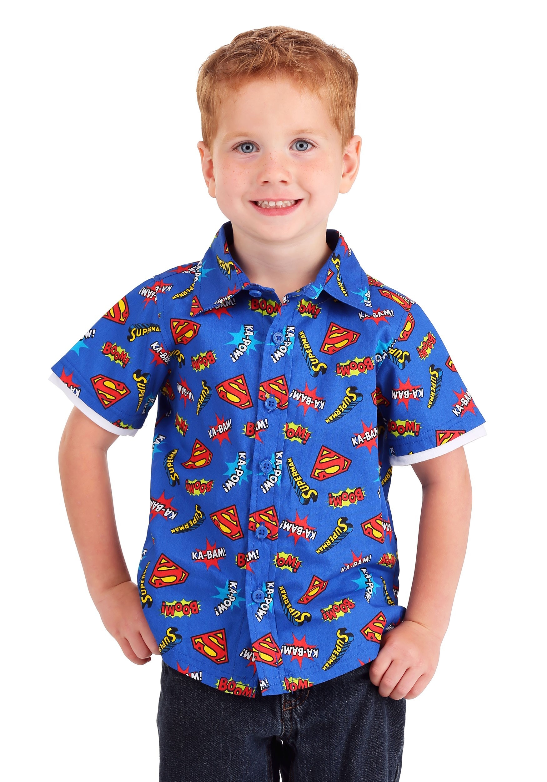 Superman Button Up Boys Shirt