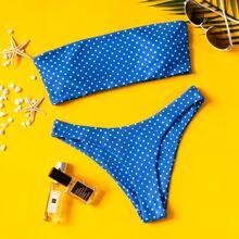 Bañador bikini bandeau de lunares